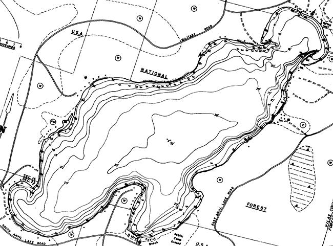 Anvil Lake contour map