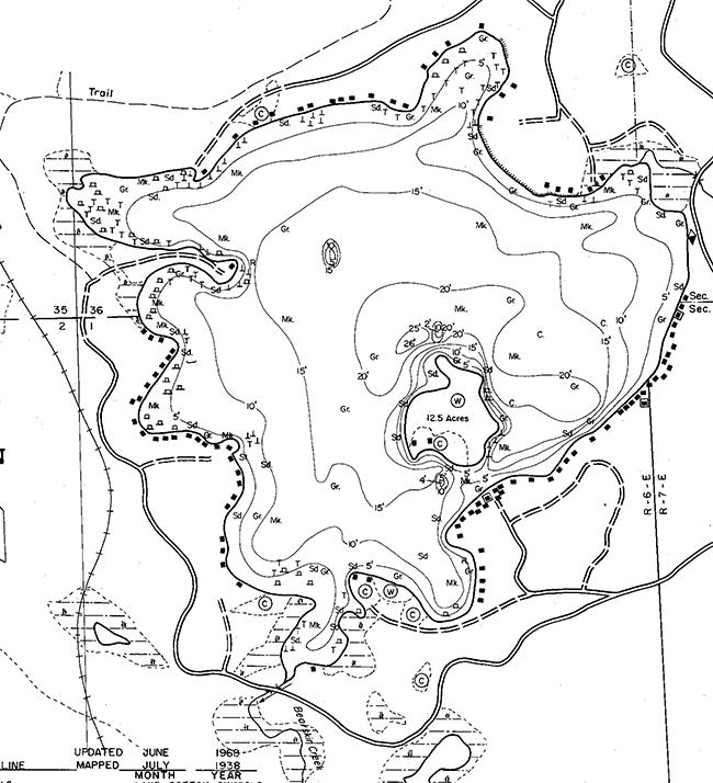 Bearskin Lake contour map
