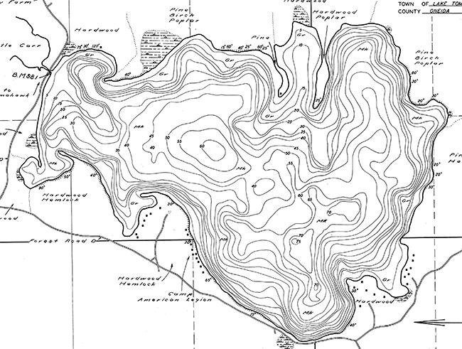 Big Carr Lake contour map