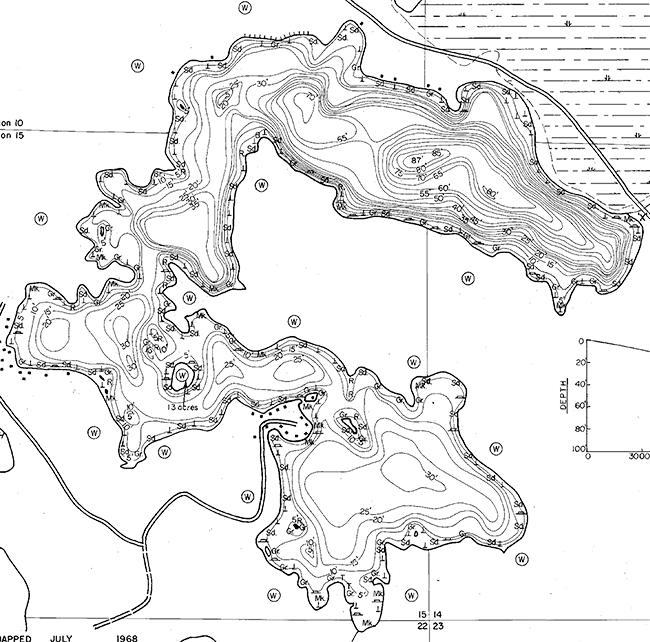 Big Crooked Lake contour map