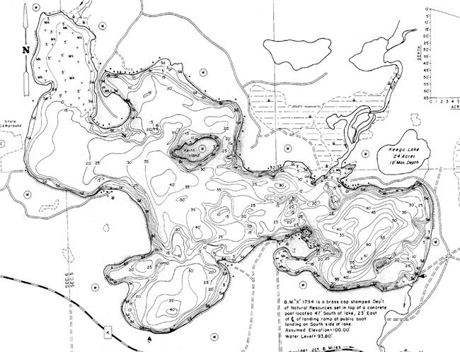Big Lake (PI) contour map