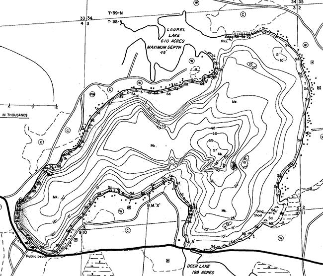 Big Stone Lake contour map