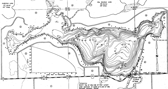 Black Oak Lake contour map