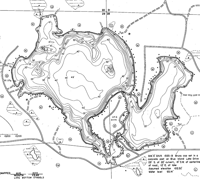 Blue Lake contour map