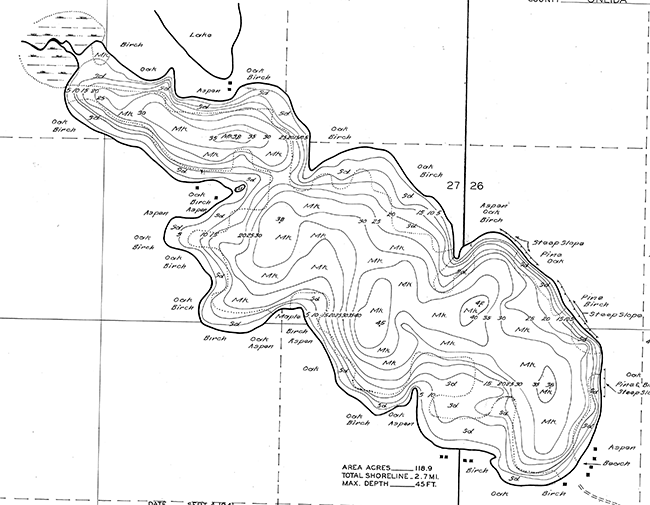 Bolger Lake contour map
