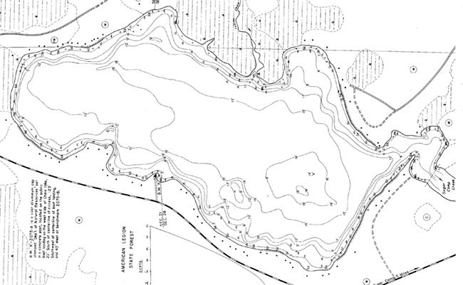 Chain Lake contour map