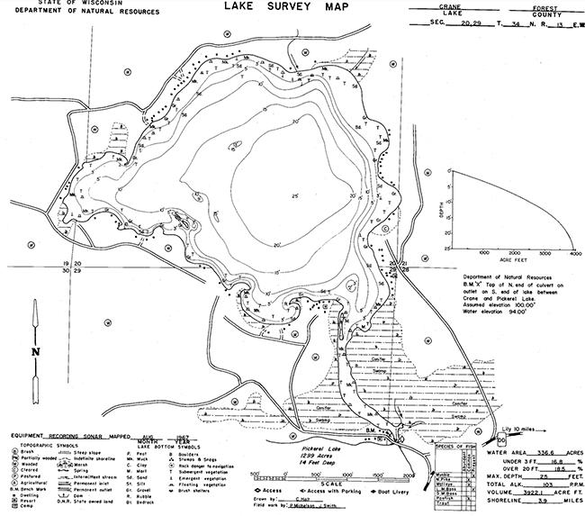 Crane Lake contour map