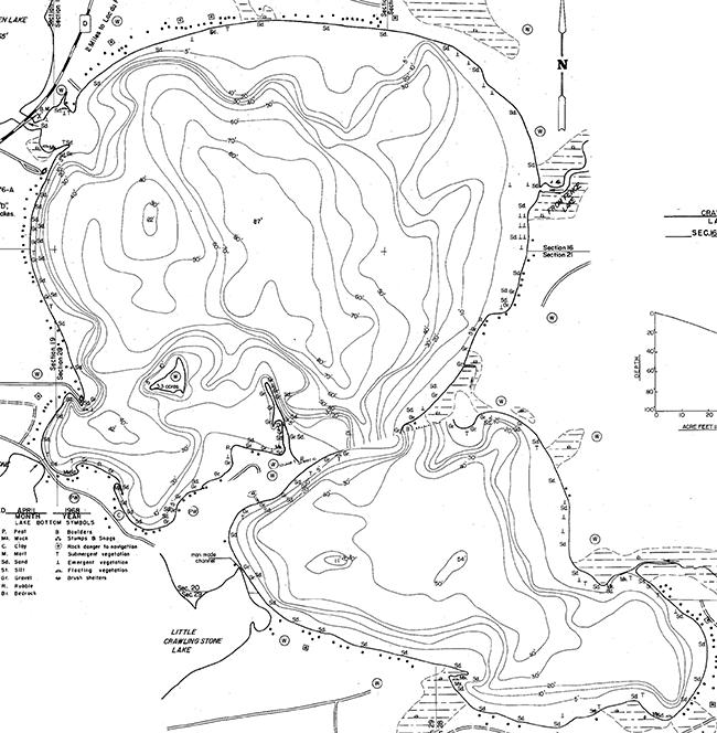 Crawling Stone Lake contour map