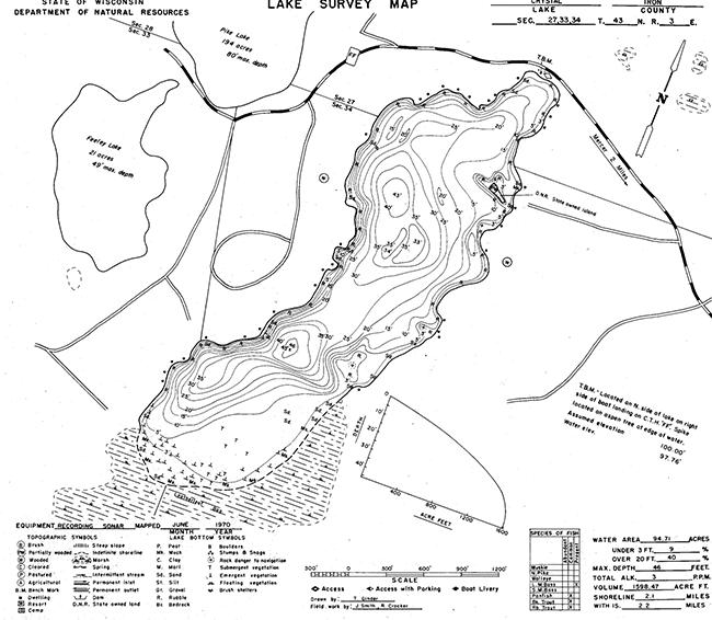 Crystal Lake (M) contour map