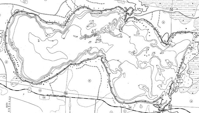 Dam Lake contour map