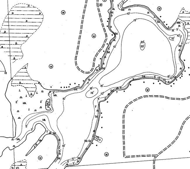 Deer Lake contour map