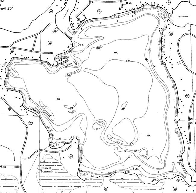 Eagle Lake contour map