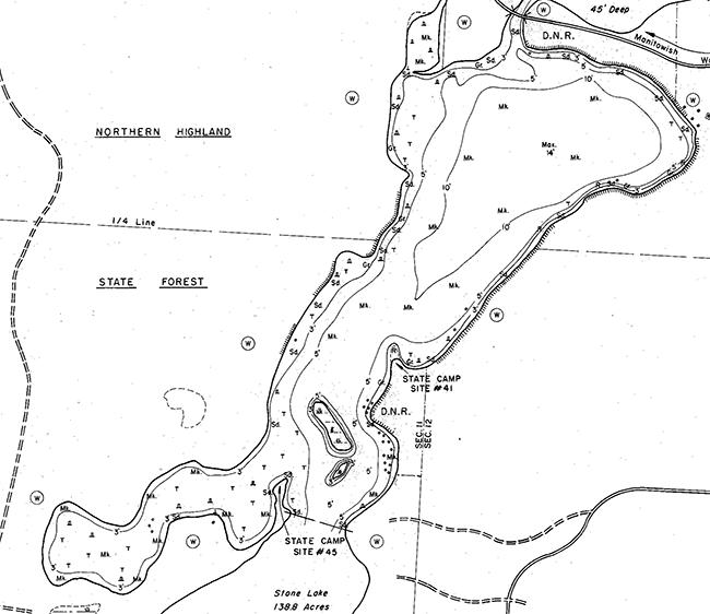 Fawn Lake contour map