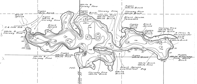 Flannery Lake contour map