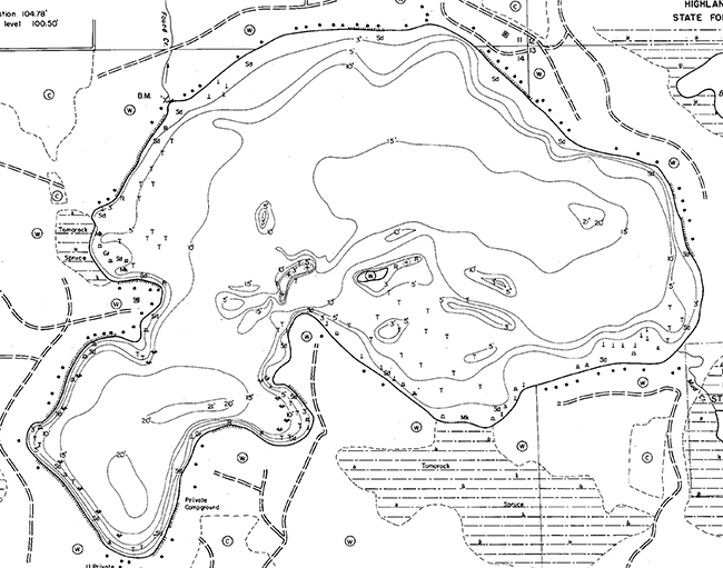 Found Lake contour map