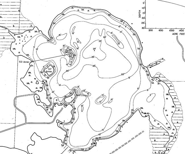 Fourmile Lake contour map