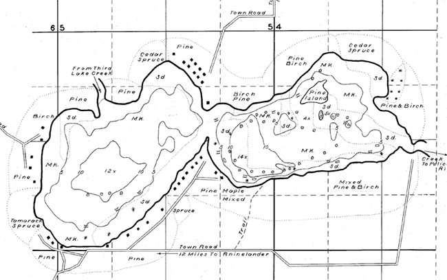 Fourth Lake contour map