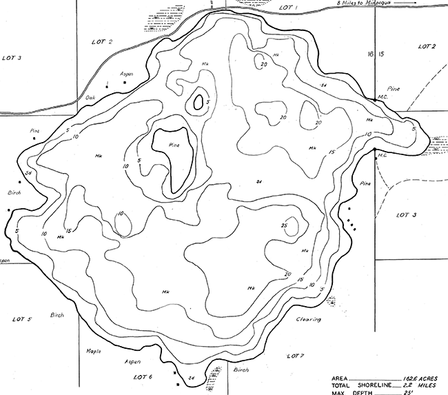 Franklin Lake contour map