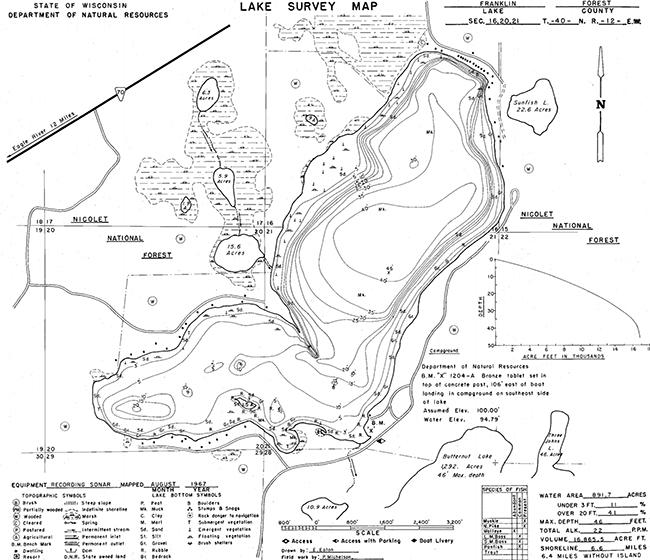 Franklin Lake (F) contour map