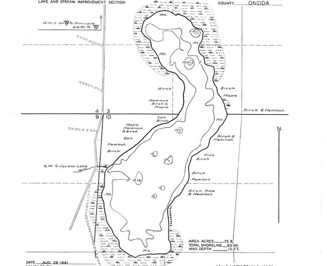 Fuller Lake contour map