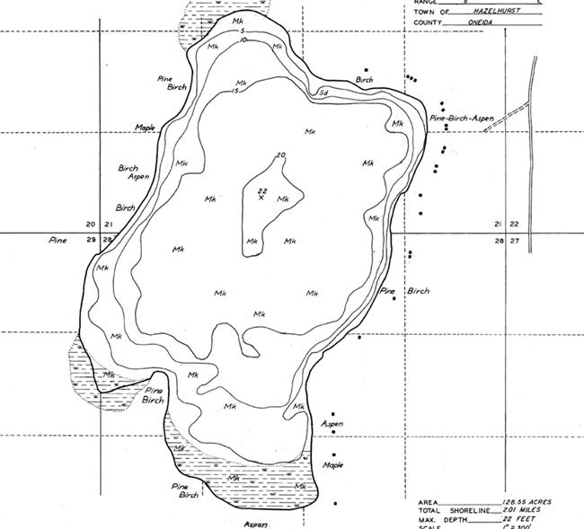 Garth Lake contour map