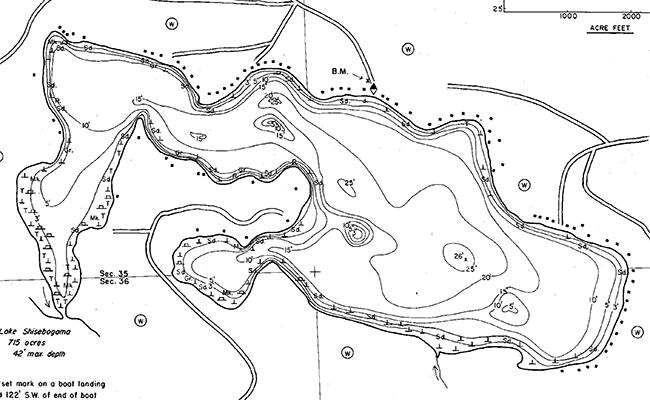 Gunlock Lake contour map