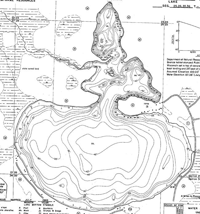 Harris Lake contour map