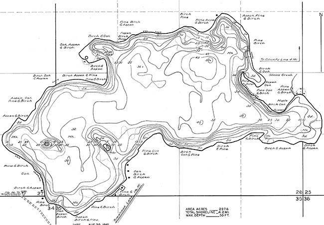 Hasbrook Lake contour map