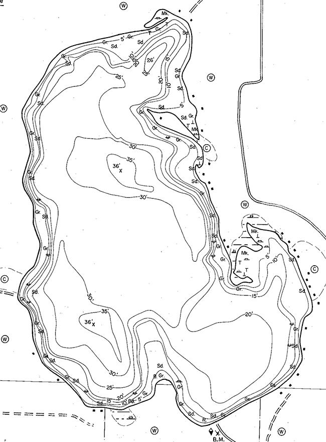 Hodstradt Lake contour map