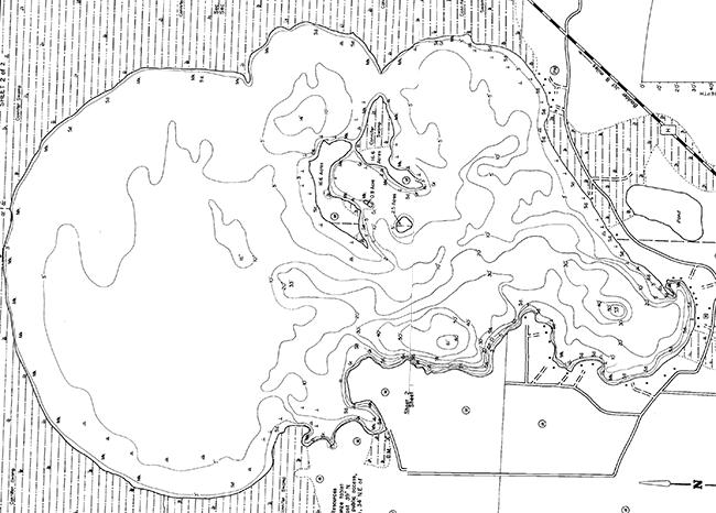 Ike Walton Lake contour map