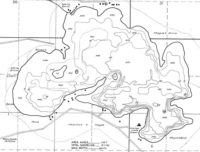 Indian Lake contour map