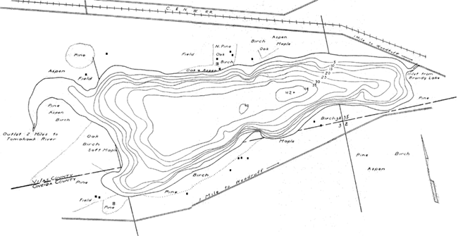 Johnson Lake contour map