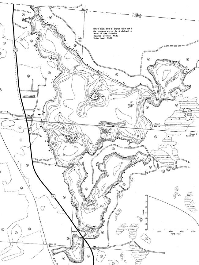 Katherine Lake contour map