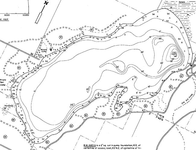 Kentuck Lake contour map