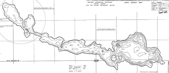Lake Mildred contour map