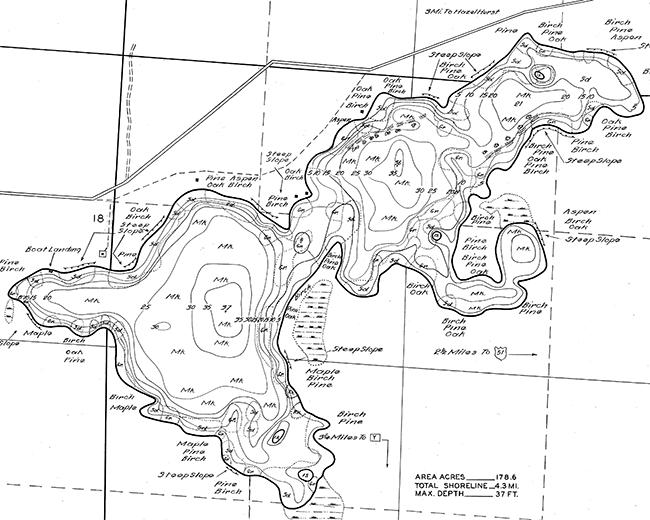 Lake Seventeen contour map