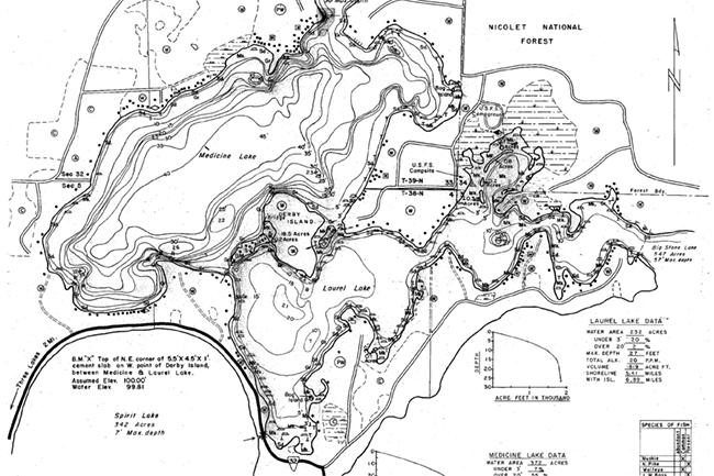 Laurel Lake contour map