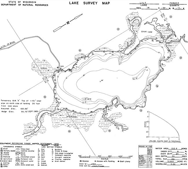 Lily Lake contour map