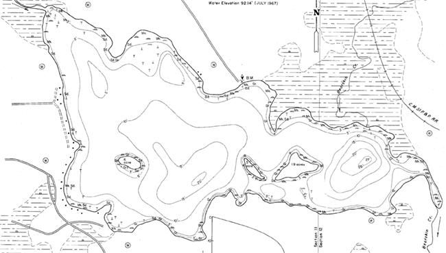 Little Bearskin Lake contour map