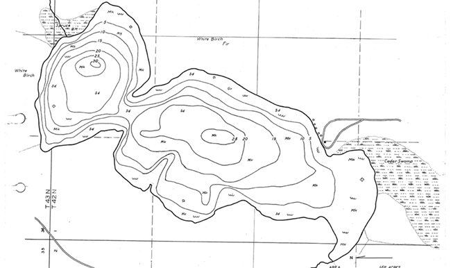 Little Crooked Lake contour map