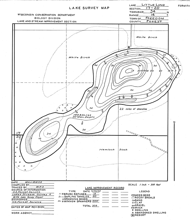 Little Long Lake contour map