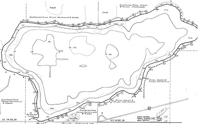 Little Muskie Lake contour map