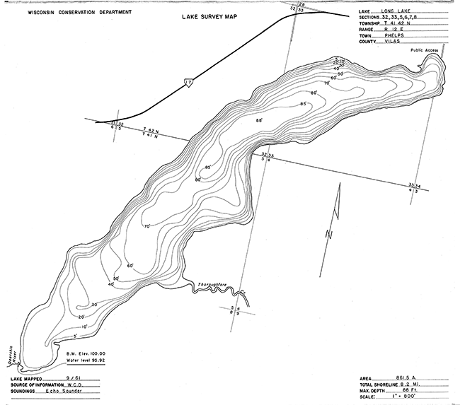 Long Lake (P) contour map