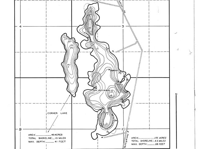 Long Lake (R) contour map