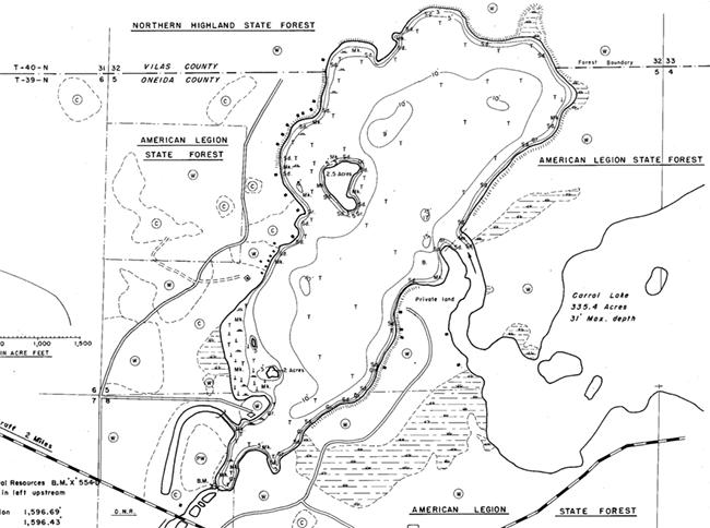 Madeline Lake contour map