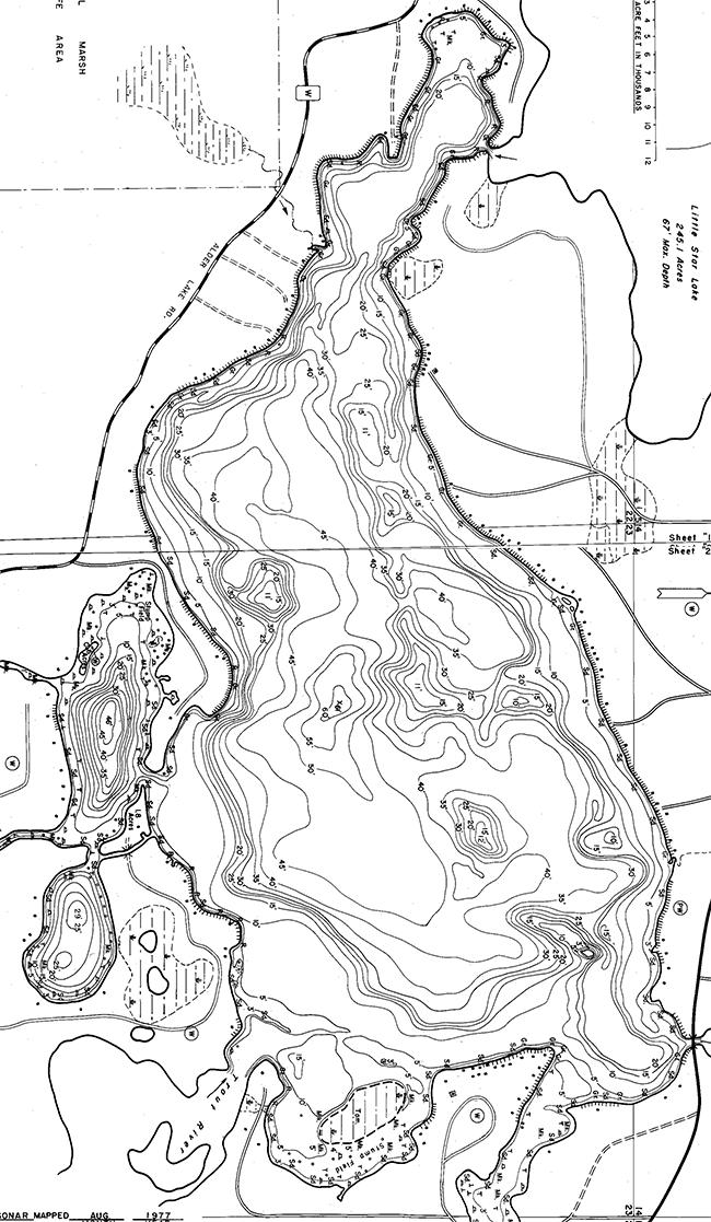 Manitowish Lake contour map