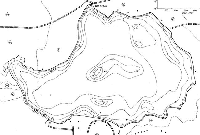 Maple Lake contour map