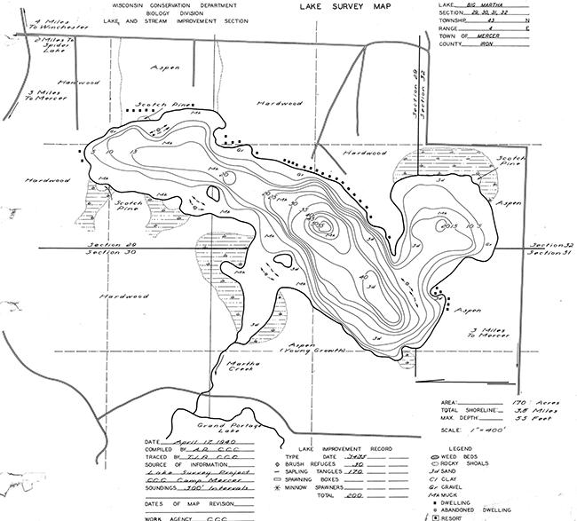 Martha Lake contour map
