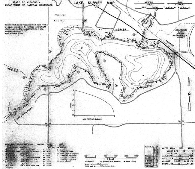Mercer Lake contour map