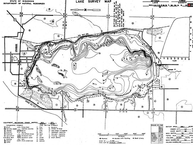 Metonga Lake contour map